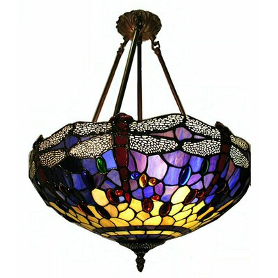 Warehouse of Tiffany Hanging Dragonfly 2 Light Semi Flush Mount