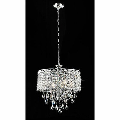 4 Light Round Crystal Chandelier