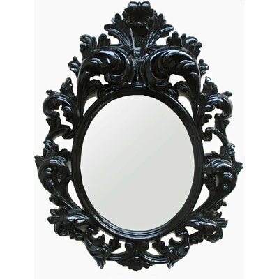 The Black Mantis Oval Mirror in Glossy Black