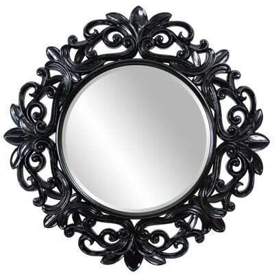 Black Orchid Round Framed Mirror in Glossy Black