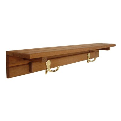 Teakworks4u Teak Shelf with 2 Hooks