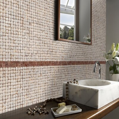 "Cocomosaic 16-1/2"" x 16-1/2"" Coconut Mosaic Tile in White Patina"