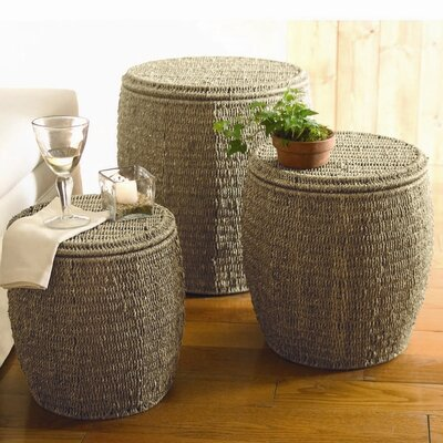 Baskets Seagrass Storage Ottoman (Set of 3)