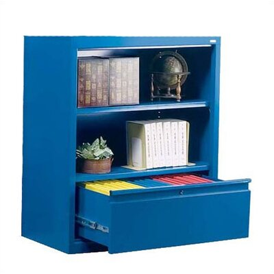 "Sandusky Cabinets 42"" H Two Shelf Bookcase with File Drawer"