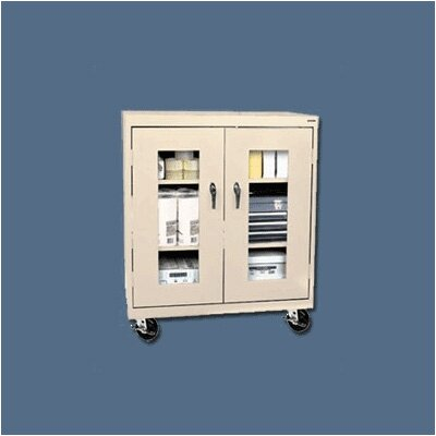 Sandusky Cabinets Transport Clear View Counter Height Mobile Storage - 48&quot; x 46&quot; x 18&quot; with Two Shelves