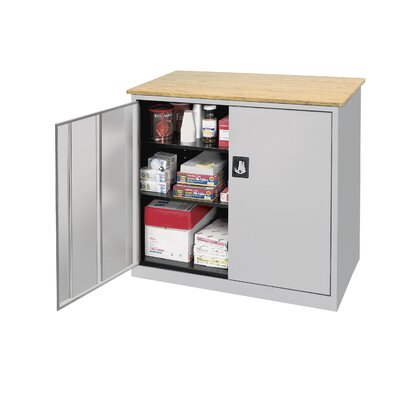 Sandusky Cabinets Elite Series Large Capacity Counter Height Cabinet with Woodgrain Top