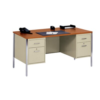 "Sandusky Cabinets 60"" W Double Pedestal Executive Desk with 2 File Drawers"