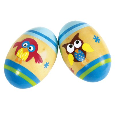 Sassafras Shaker Eggs Blue Owl Design (Set of 2)