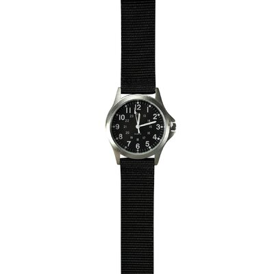 Classic 24 Hour Military Field Watch with Webbed Black Nylon Strap
