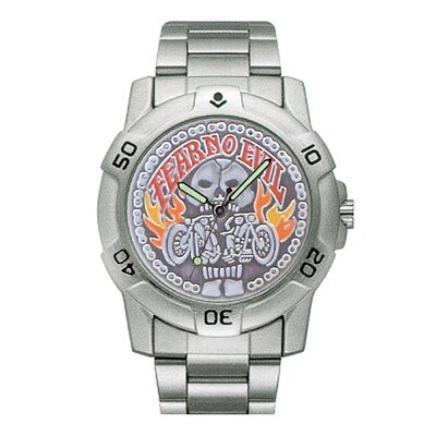 RAM Instrument Chrome Biker Watch with Fear No Evil Emboss