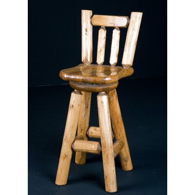 Northwoods Billiards Log Swivel Bar Stool