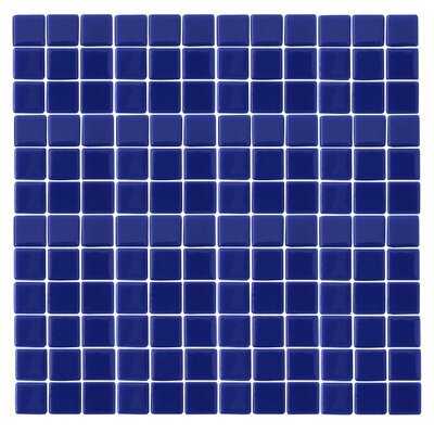 "Epoch Architectural Surfaces Monoz M-Blue 1"" x 1"" Recycled Glass Mosaic in Blue"