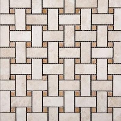 Tumbled Travertine Basketweave Mosaic in Beige