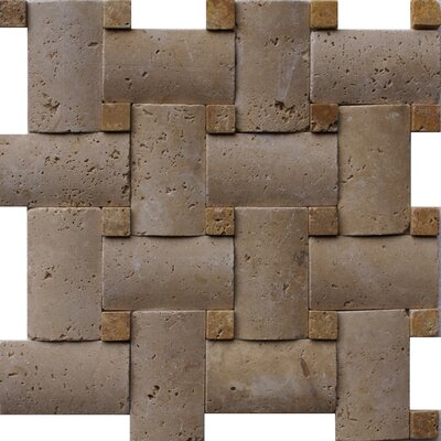 Noce Random Sized Tumbled Travertine Pillowed Basketweave Mosaic in Brown