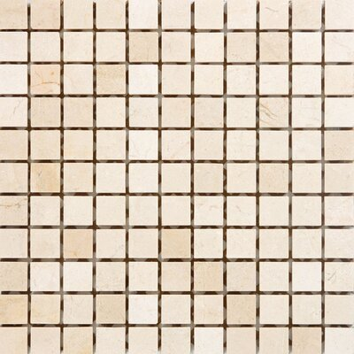 "Epoch Architectural Surfaces 12"" x 12"" Tumbled Marble Mosaic in Crema Cappuccino"