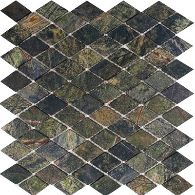 "Epoch Architectural Surfaces 12"" x 12"" Tumbled Marble Diamond Mosaic in Rain Forest Green"
