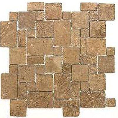 Noce Random Sized Tumbled Travertine Mini Versailles Mosaic in Brown