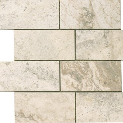 "Epoch Architectural Surfaces 12"" x 12"" Porcelain Subway Mosaic in Gray Travertine"