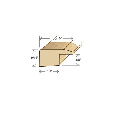 "Moldings Online 0.38"" x 1.17"" Solid Hardwood Maple Square Nose in Unfinished"