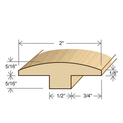 "Moldings Online 0.63"" x 2"" Solid Bamboo Horizontal T-Molding in Unfinished"