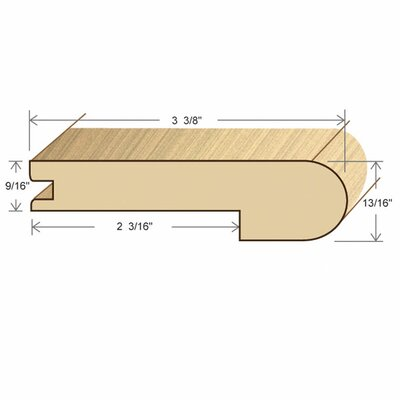 "Moldings Online 0.52"" x 3.38"" Solid Hardwood Santos Mahogany Stair Nose in Unfinished"