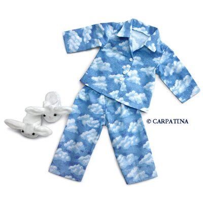 Carpatina American Girl Dolls Cloud Nine Pajamas and Bunny Slippers