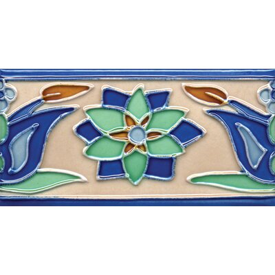 "Solistone Mission 6"" x 3"" Hand-Painted Ceramic Decorative Tile in Tulips 3"