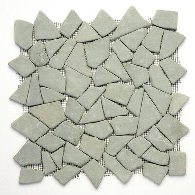 Decorative Pebbles Random Sized Interlocking Mesh Tile in Green Gobos