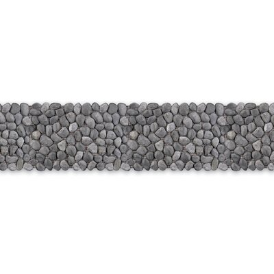 "Solistone Decorative Pebbles 39"" x 4"" Interlocking Border Tile in Honed Black Sea"