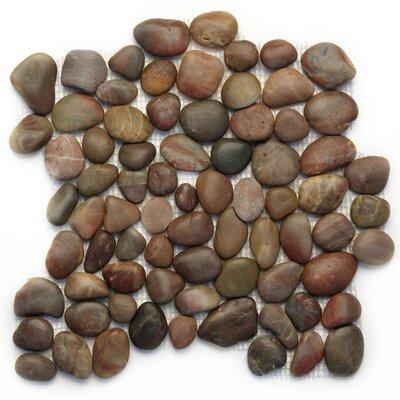 Decorative Pebbles Random Sized Interlocking Mesh Tile in Agate