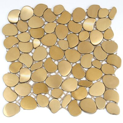 Freeform Random Sized Metal Interlocking Mesh Tile in Solar (Brushed Gold)