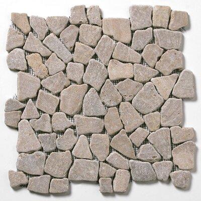 Decorative Pebbles Random Sized Interlocking Mesh Tile in Bromo Brown