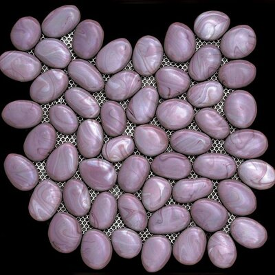 Solistone Freeform Random Sized Glass Interlocking Mesh Tile in Javaher (Violet)