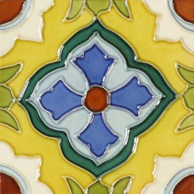 Multi color ceramic tile wayfair - Hand painted ceramic tile ...