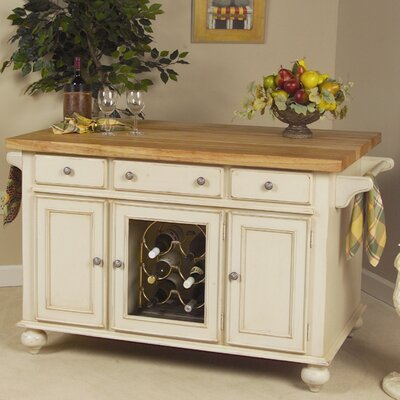 Kaco International Signature Kitchen Island with Butcher Block Top