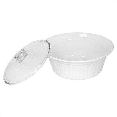 Corningware French White 2 Qt. Round Dish with Glass Cover