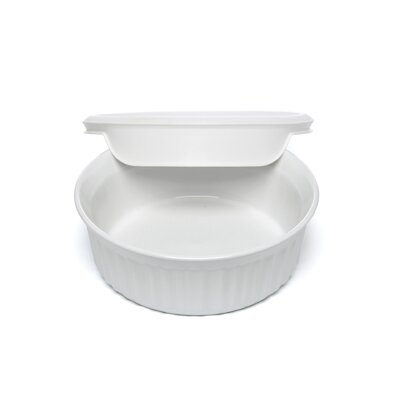 Corningware French White 24 oz. Round Dish with Vented Plastic Cover