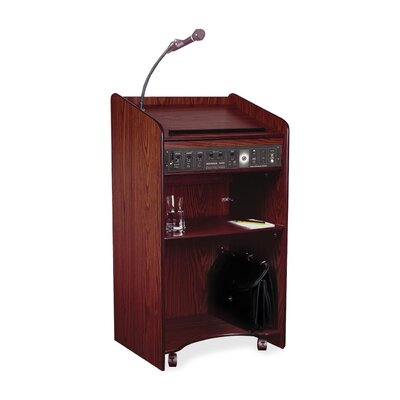 "Oklahoma Sound Corporation Presentation Lectern, 25""x20""x46"", Medium Oak/Mahogany"