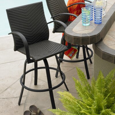The Outdoor GreatRoom Company Naples Swivel Barstool Set