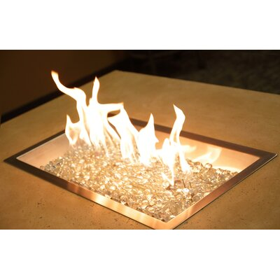 Rectangular Crystal Fire Burner with Glass Fire Gems in Copper