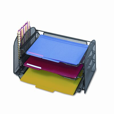Safco Products Company Onyx Organizer with One Upright and Three Horizontal Sections in Black