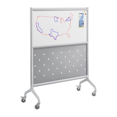 Safco Products Company Rumba Screen Magnetic Whiteboard with Perforated Steel Panel in Gray