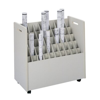 Safco Products Company Laminate Mobile 50 Compartments Roll Files