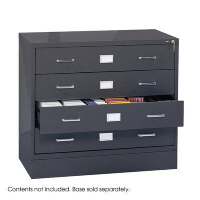 Safco Products Company Computer Multimedia Cabinet with Library Style Drawers