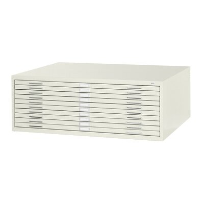 "Safco Products Company 42"" W Ten-Drawer Steel Flat File with Optional Closed Base"