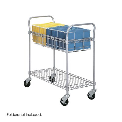 Safco Products Company Wire Mail Cart, 600Lbs, 18-3/4W X 39D X 38-1/2H