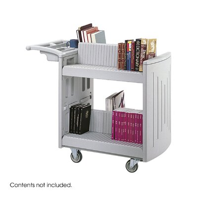 "Safco Products Company 37"" H Two Shelf Molded Book Cart"