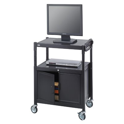 Mobile Av Adjustable Cart with Locking Cabinet