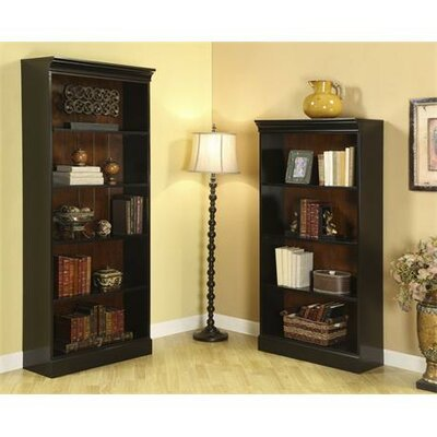 "Riverside Furniture Bridgeport 72"" Bookcase in Distressed Burnished Cherry and Antique Black"