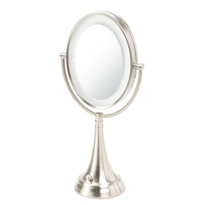 Oval Vanity Mirror with LED Surround Light in Satin Nickel